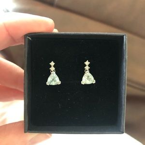 Genuine Aquamarine and Diamond Drop Earrings